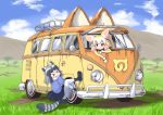 >_< 2girls animal_ears black_boots black_hair black_skirt blonde_hair blush boots clenched_teeth closed_mouth clouds commentary_request common_raccoon_(kemono_friends) day dirty eyebrows_visible_through_hair fennec_(kemono_friends) fox_ears full_body grass ground_vehicle hair_between_eyes japari_symbol kemono_friends looking_at_another motor_vehicle multicolored_hair multiple_girls open_window outdoors pleated_skirt puffy_short_sleeves puffy_sleeves pxton raccoon_ears raccoon_tail short_sleeves silver_hair skirt sky smile tail teeth tree van volkswagen_type_2 white_hair white_legwear