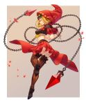 1girl absurdres ass blonde_hair breasts chains closed_eyes from_behind full_body highres hood medium_breasts odin_sphere solo splish striped striped_legwear thigh-highs velvet_(odin_sphere) vertical-striped_legwear vertical_stripes