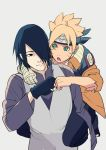 2boys acaallodola black_eyes black_hair blue_eyes jacket multiple_boys naruto pale_skin piggyback smile uchiha_sasuke uzumaki_boruto whisker_markings
