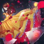 1girl artist_name beauty_and_the_beast belle_(disney) brown_hair closed_eyes disney dress elbow_gloves flower frills glass_shards gloves hair_ornament long_hair lopuii mirror rose solo standing yellow_dress yellow_gloves
