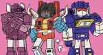 3boys 80s arm_cannon artist_request cannon decepticon english hand_on_hip highres insignia looking_at_viewer machine machinery mecha multiple_boys no_humans oldschool open_mouth personification pointing pointing_at_viewer red_eyes robot shockwave_(transformers) soundwave starscream tape_recorder transformers weapon