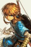 1boy bangs blonde_hair blue_eyes bow_(weapon) closed_mouth earrings grey_background hankuri holding holding_sword holding_weapon jewelry link looking_at_viewer male_focus pointy_ears serious sidelocks simple_background solo strap sword the_legend_of_zelda the_legend_of_zelda:_breath_of_the_wild weapon