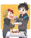 2boys birthday_cake black_hair blonde_hair blueberry blush bouquet brown_eyes cake fang flower food fork fruit happy_birthday jacket katsuki_yuuri male_focus minami_kenjirou multicolored_hair multiple_boys open_mouth plate redhead ruei_(chicking) smile strawberry tearing_up track_jacket two-tone_hair yuri!!!_on_ice