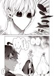 barefoot comic creepy_eyes earrings fate/grand_order fate_(series) gilgamesh highres jewelry monochrome nato_(gu-cci) nitocris_(fate/grand_order) nitocris_(swimsuit_assassin)_(fate) rider_(fate/prototype_fragments) stare_down sweat translated