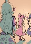 3girls animal_ears broom commentary curly_hair detached_sleeves from_behind hat horn kariyushi_shirt komano_aun long_hair multiple_girls shorts shukinuko sketch skirt skirt_set talking touhou very_long_hair watching witch_hat