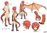 1girl character_sheet commentary_request dragon_girl dragon_horns dragon_tail dragon_wings eyebrows_visible_through_hair hand_on_hip hitokuirou horns navel no_nipples no_pussy nude original red_eyes redhead scales smile solo spines tail white_background wings