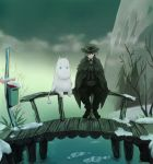 1boy blue_eyes bridge cloak clouds edmond_dantes_(fate/grand_order) fate/grand_order fate_(series) hands_together hat ice male_focus moomin moomintroll mountain paopu postbox red_eyes river sign sitting smile tail tree