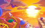 1boy backwards_hat baseball_cap beanie bow bowtie cliff closed_eyes clouds commentary_request flying hat headphones helmet kirby kirby_(series) meta_knight nintendo no_humans notepad ocean official_art sitting sparkle star_(sky) sunset translated waddle_dee wheelie_(kirby) wings