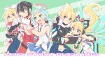 2boys 3girls aqua_hair azure_striker_gunvolt black_hair blaster_master_zero blonde_hair blue_eyes bodysuit bow bracelet braid company_connection ekoro_(galgun) english eve_(blaster_master_zero) fingerless_gloves floating gal_gun gloves green_background gunvolt hair_bow halo handheld_game_console highres inti_creates jacket jason_frudnick jewelry joule_(gunvolt) looking_at_another mechanical_wings multicolored_hair multiple_boys multiple_girls natsume_yuji necktie nintendo_3ds nintendo_switch official_art playing_games red_gloves red_jacket short_hair sleeveless streaked_hair thigh-highs white_bow white_legwear wings