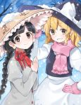 2girls ajirogasa akagashi_hagane bangs black_hair black_vest blonde_hair blunt_bangs blurry bow braid brown_eyes capelet closed_mouth commentary_request cowboy_shot dress earlobes eyebrows_visible_through_hair from_side gloves grey_dress grin hand_on_hip hands_together hat head_tilt kirisame_marisa long_hair long_sleeves looking_at_viewer multiple_girls outdoors pink_gloves pink_scarf scarf shirt short_hair skirt smile snowing teeth touhou twin_braids vest white_bow white_shirt white_skirt witch_hat yatadera_narumi yellow_eyes