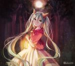1girl 723/nanahumi aqua_hair bad_end_night_(vocaloid) dress floating_hair forest green_eyes hair_between_eyes hair_ornament hatsune_miku long_dress long_hair nature outdoors parted_lips solo standing tree twintails very_long_hair vocaloid white_dress