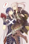 1boy 1girl armor blue_eyes blue_hair blush cape carrying dinikee female_my_unit_(fire_emblem:_kakusei) fire_emblem fire_emblem:_kakusei gloves krom long_hair my_unit_(fire_emblem:_kakusei) open_mouth short_hair smile twintails white_hair