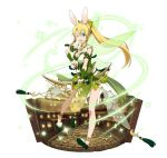1girl ;d animal_ears anklet blonde_hair bow_(weapon) breasts cleavage floating_hair full_body green_eyes high_ponytail holding holding_arrow holding_bow_(weapon) holding_weapon jewelry large_breasts leafa long_hair one_eye_closed open_mouth pointy_ears rabbit_ears simple_background sleeveless smile solo standing sword_art_online transparent very_long_hair weapon white_background