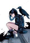 1girl bird casual chewing_gum dc_comics forehead_jewel gabriel_picolo highres phone purple_hair raven_(animal) raven_(dc) short_hair short_shorts shorts solo teen_titans