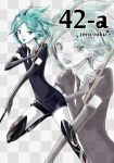 bent_knees black_gloves black_necktie elbow_gloves gloves green_eyes green_hair happy highres holding houseki_no_kuni looking_at_viewer necktie open_mouth personification phosphophyllite short_hair short_sleeves solo standing standing_on_one_leg sword uniform weapon zoom_layer zun_(m_o_v_o_m)