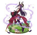 1girl animal_ears arm_up detached_sleeves floating_hair full_body holding holding_sword holding_weapon long_hair looking_at_viewer looking_back one_leg_raised purple_hair rabbit_ears red_eyes red_legwear simple_background solo sword sword_art_online thigh-highs very_long_hair weapon white_background yuuki_(sao)