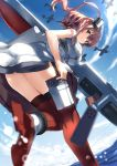 1girl aircraft airplane blue_eyes blurry breast_pocket breasts brown_hair day depth_of_field dress flight_deck from_below gun hair_between_eyes highres kantai_collection long_hair looking_at_viewer looking_down magazine_(weapon) neckerchief ocean pocket ponytail red_legwear red_neckerchief saratoga_(kantai_collection) short_sleeves side_ponytail sidelocks smile solo submachine_gun thigh-highs thompson_submachine_gun tsuuhan weapon white_dress