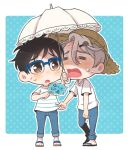 2boys =_= black_hair blue-framed_eyewear brown_eyes chibi denim fan glasses hair_ornament hairclip hat hot jeans katsuki_yuuri makkachin male_focus multiple_boys pants paper_fan parasol ruei_(chicking) sandals shirt silver_hair straw_hat striped striped_shirt sweat uchiwa umbrella viktor_nikiforov yuri!!!_on_ice