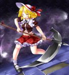 1girl adapted_costume aka_tawashi angry background blonde_hair blush bow breasts brown_ribbon brown_shirt commentary_request cowboy_shot d:< elly hat hat_bow highleg highleg_panties highres holding holding_scythe holding_weapon legs looking_at_viewer mary_janes medium_breasts midriff navel open_clothes open_mouth open_shirt panties petticoat puffy_short_sleeves puffy_sleeves red_bow red_skirt ribbon scythe shirt shoes short_hair short_sleeves skirt socks solo stomach tile_floor tiles touhou touhou_(pc-98) underwear weapon white_hat yellow_eyes