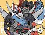 2boys 80s anger_vein angry artist_request cannon decepticon dual_persona machine machinery mecha missile multiple_boys multiple_persona no_humans oldschool open_mouth personification red_eyes robot starscream transformers transformers_prime weapon