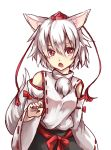 1girl animal_ears bare_shoulders breasts detached_sleeves hat highres inubashiri_momiji medium_breasts open_mouth pom_pom_(clothes) red_eyes ribbon-trimmed_sleeves ribbon_trim short_hair silver_hair simple_background solo tail tokin_hat touhou white_background wolf_ears wolf_tail
