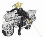 >:/ 1girl :/ ahoge artoria_pendragon_(all) black_gloves black_jacket black_pants black_shirt black_shoes blonde_hair breasts business_suit closed_mouth excalibur fate/zero fate_(series) formal gloves green_eyes ground_vehicle highres holding holding_sword holding_weapon jacket long_hair long_sleeves looking_at_viewer medium_breasts motor_vehicle motorcycle pants ponytail riding saber shirt shoes simple_background sitting solo suit sword teshima_nari tuxedo weapon white_background