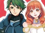 1boy 1girl alm_(fire_emblem) armor celica_(fire_emblem) fire_emblem fire_emblem_echoes:_mou_hitori_no_eiyuuou fire_emblem_gaiden green_eyes green_hair looking_at_viewer portrait redhead simple_background smile wavy_hair yellow_eyes