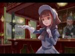 1boy 1girl bar bartender beatrice_(princess_principal) blurry blurry_background bonnet bottle brown_hair candle dress facial_hair gloves grey_dress grey_hair grey_scarf hand_up inside open_mouth outstretched_hand princess_principal shakamuni sparkle vest white_gloves