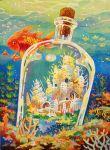 acrylic_paint_(medium) bottle city commentary_request coral coral_reef door fantasy fish goldfish kemi_neko no_humans ocean original outdoors seahorse seashell shell traditional_media underwater