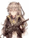 1girl black_gloves brown_hair fingerless_gloves girls_frontline gloves h&k_ump45 jacket kvlen long_hair scar scar_across_eye school_uniform serafuku side_ponytail solo ump45_(girls_frontline) upper_body yellow_eyes