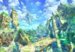 1boy blue_sky bridge broken castle clouds cloudy_sky commentary_request day floating_island from_behind holding holding_spear holding_weapon hood hood_up kaitan long_sleeves moss on_wall original outdoors polearm reflection robe ruins scenery sky spear squatting tower water_surface weapon