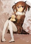 1girl absurdres blush brown_hair closed_mouth coat drooling eurasian_eagle_owl_(kemono_friends) full_body fur_trim head_wings highres kaamin_(mariarose753) kemono_friends long_sleeves looking_at_viewer pantyhose ramen red_eyes short_hair sitting solo white_legwear
