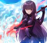 1girl bodysuit breasts breasts_apart covered_navel cowboy_shot fate/grand_order fate_(series) hair_between_eyes holding holding_weapon long_hair medium_breasts open_mouth polearm purple_hair red_eyes scathach_(fate/grand_order) solo spear standing very_long_hair weapon yone