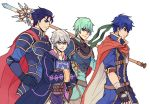 aqua_hair armor blue_eyes blue_hair cape ephraim fire_emblem fire_emblem:_kakusei fire_emblem:_rekka_no_ken fire_emblem:_seima_no_kouseki fire_emblem:_souen_no_kiseki fire_emblem_heroes gloves green_eyes green_hair hector_(fire_emblem) ike male_focus male_my_unit_(fire_emblem:_kakusei) multiple_boys my_unit_(fire_emblem:_kakusei) polearm short_hair smile spear sword weapon
