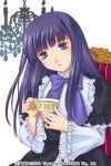 1girl bangs blue_eyes blue_hair blunt_bangs bow closed_mouth copyright_name cup dress expressionless frederica_bernkastel frilled_dress frilled_sleeves frills holding izumi_natsuka lolita_fashion long_hair long_sleeves sitting solo tea teacup umineko_no_naku_koro_ni