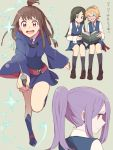alternate_hairstyle barbara_parker high_ponytail kagari_atsuko little_witch_academia lotte_jansson reading running sou_(tuhut) sucy_manbavaran