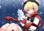 1girl black_skirt black_vest blonde_hair blue_background blush commentary_request expressionless eyebrows_visible_through_hair eyes_visible_through_hair gloves hammer_(sunset_beach) holding knees_up looking_at_viewer lunasa_prismriver red_gloves red_scarf scarf short_hair sitting skirt snowing snowman solo touhou vest