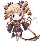 >:d 1girl :d bangs black_sleeves blonde_hair blue_eyes breasts cleavage cleavage_cutout commentary_request detached_sleeves drill_hair eyebrows_visible_through_hair frilled_skirt frilled_sleeves frills full_body hair_ornament heart highres holding holding_weapon koihime_musou long_hair looking_at_viewer neck_ribbon nenko open_mouth pleated_skirt purple_skirt red_ribbon ribbon scythe sidelocks skirt smile solo sousou standing teeth weapon white_background white_legwear wide_sleeves