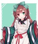 1girl apron bangs black_gloves blush bow brown_hair commentary_request earrings eyebrows_visible_through_hair frilled_apron frills gloves green_background green_bow green_eyes green_kimono hair_bow head_tilt heterochromia japanese_clothes jewelry kimono long_hair long_sleeves looking_at_viewer maid_apron parted_lips red_bow red_eyes red_ribbon ribbon rozen_maiden simple_background smile solo suiseiseki tengxiang_lingnai upper_body very_long_hair wa_maid white_apron wide_sleeves
