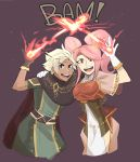 1boy 1girl boey_(fire_emblem) cape fire fire_emblem fire_emblem_echoes:_mou_hitori_no_eiyuuou fire_emblem_gaiden gloves looking_at_viewer mae_(fire_emblem) magic pink_hair red_eyes simple_background smile twintails white_hair