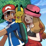 1boy 1girl backpack bag baseball_cap black_hair blue_eyes brown_eyes brown_hair fingerless_gloves gloves hat long_hair moyori pikachu pokemon pokemon_(anime) satoshi_(pokemon) serena_(pokemon) smile
