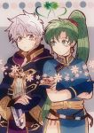 1boy 1girl blush breasts cape dress earrings fire_emblem fire_emblem:_kakusei fire_emblem:_rekka_no_ken fire_emblem_musou gloves green_eyes green_hair high_ponytail highres hood jewelry kiriya_(552260) long_hair lyndis_(fire_emblem) male_my_unit_(fire_emblem:_kakusei) my_unit_(fire_emblem:_kakusei) ponytail short_hair smile very_long_hair weapon white_hair