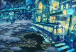 above_clouds city_lights clouds cloudy_sky commentary_request earth fantasy ground_vehicle horizon kemi_neko lake light night no_humans ocean original outdoors railroad_tracks scenery science_fiction sign sky space space_station star_(sky) starry_sky train train_station