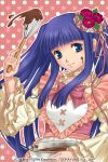 1girl apron baking bangs blue_eyes blue_hair blunt_bangs bow bowl chocolate chocolate_on_face choker copyright_name flower food food_on_face frilled_sleeves frills furudo_erika hair_flower hair_ornament heart holding izumi_natsuka long_hair long_sleeves looking_at_viewer mixing_bowl pink_background pink_bow polka_dot polka_dot_background puffy_long_sleeves puffy_sleeves ribbon smile solo twintails umineko_no_naku_koro_ni valentine whisk