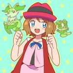 1girl blue_bow blue_eyes bow braixen brown_hair clenched_hands hands_up hat moyori pancham pokemon pokemon_(anime) pokemon_xy_(anime) serena_(pokemon) short_hair smile star starry_background sunglasses sunglasses_on_head teal_background