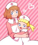 2girls alternate_costume blonde_hair blue_eyes blush brown_hair cosplay eureka_(pokemon) hat heart hug joy_(pokemon) joy_(pokemon)_(cosplay) looking_at_viewer moyori multiple_girls nurse nurse_cap pink_background pokemon pokemon_(anime) pokemon_xy_(anime) serena_(pokemon) short_hair side_ponytail striped striped_background