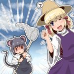 >_< >_o 2girls animal_ears blonde_hair blue_eyes blush butterfly_net cookie_(touhou) eyebrows_visible_through_hair flying_sweatdrops grey_hair hair_ribbon hand_net houten kofji_(cookie) looking_at_another moriya_suwako mouse_ears mouse_tail multiple_girls nazrin one_eye_closed open_mouth pyonta red_eyes red_ribbon ribbon short_hair suwako_(cookie) tail touhou triangle_mouth
