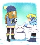 2girls ^_^ beanie black_legwear blonde_hair boots breath brown_hair closed_eyes coat earmuffs eureka_(pokemon) fur_boots hat leggings long_hair mittens moyori multiple_girls pikachu pleated_skirt pokemon pokemon_(anime) pokemon_xy_(anime) serena_(pokemon) side_ponytail skirt smile snow snowman ugg_boots winter winter_clothes winter_coat