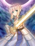 1girl absurdres ahoge armor artoria_pendragon_(all) bangs blonde_hair blue_ribbon braid breastplate closed_mouth cowboy_shot excalibur eyebrows_visible_through_hair fate/stay_night fate_(series) faulds french_braid gauntlets google_(asdek18) green_eyes hair_ribbon highres holding holding_sword holding_weapon juliet_sleeves long_sleeves looking_at_viewer night outdoors puffy_sleeves ribbon saber serious sidelocks solo sword weapon