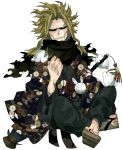1boy all_might black_sclera blonde_hair blue_eyes boku_no_hero_academia clenched_hand commentary_request floral_print full_body geta indian_style japanese_clothes kimono long_sleeves male_focus nekodou_(yukatin1000) rope scarf simple_background sitting slippers smile snake snow_bunny solo teeth umbrella weapon white_background wide_sleeves yagi_toshinori